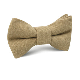 Dark Khaki Tan Linen Kids Bow Tie
