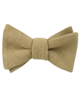 Dark Khaki Tan Linen Self Bow Tie