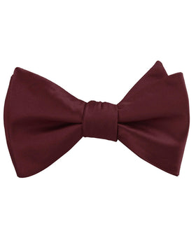 Dark Merlot Wine Satin Self Bow Tie