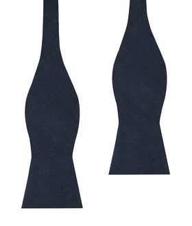 Dark Midnight Blue Linen Self Bow Tie