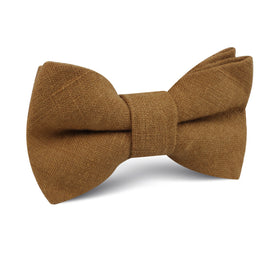 Dark Mustard Brown Linen Kids Bow Tie