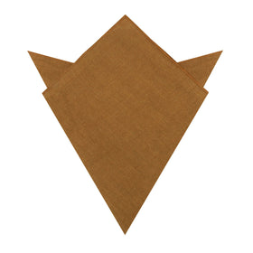 Dark Mustard Brown Linen Pocket Square