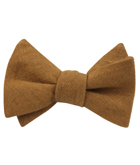 Dark Mustard Brown Linen Self Bow Tie