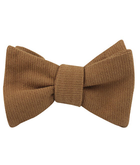 Dark Mustard Twill Linen Self Bow Tie