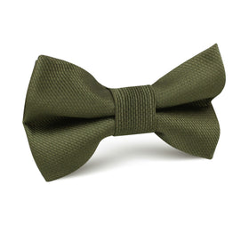 Dark Olive Green Weave Kids Bow Tie