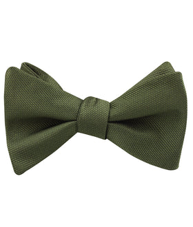 Dark Olive Green Weave Self Bow Tie