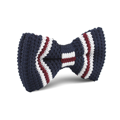 Dark American Navy Blue Knitted Bow Tie