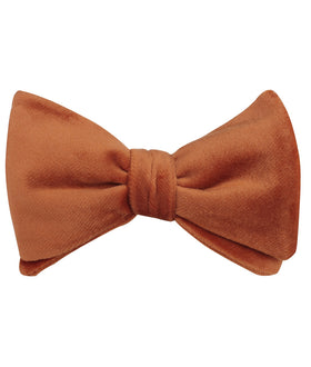 Dark Autumn Gold Velvet Self Bow Tie