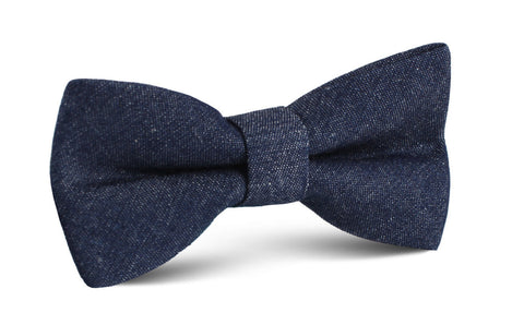 Dark Blue Raw Denim Linen Bow Tie