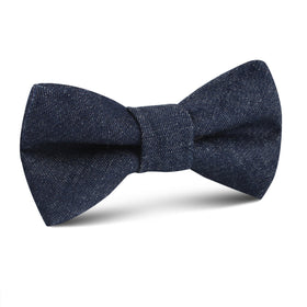 Dark Blue Raw Denim Linen Kids Bow Tie