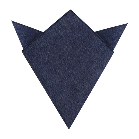 Dark Blue Raw Denim Linen Pocket Square