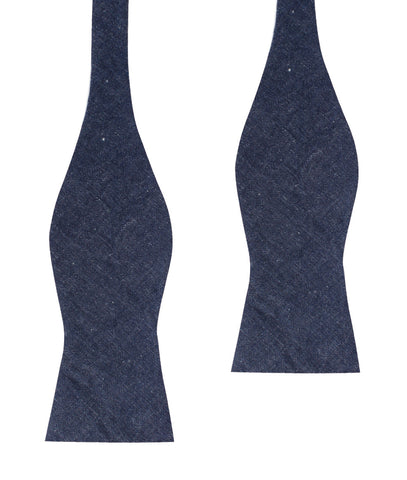 Dark Blue Raw Denim Linen Self Bow Tie