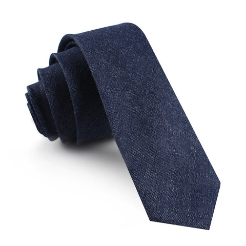 Dark Blue Raw Denim Linen Skinny Tie