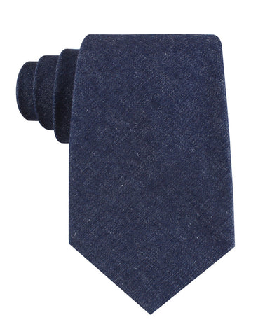 Dark Blue Raw Denim Linen Tie