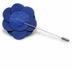 Dark Blue Velvet Lapel Flower