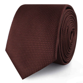 Dark Brown Basket Weave Skinny Tie