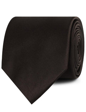 Dark Brown Truffle Satin Necktie