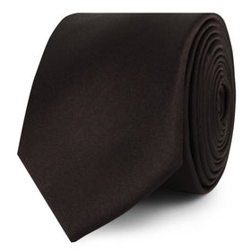 Dark Brown Truffle Satin Skinny Tie