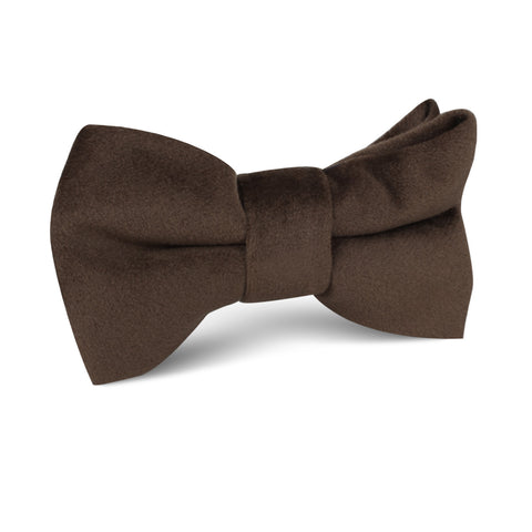 Dark Brown Velvet Kids Bow Tie