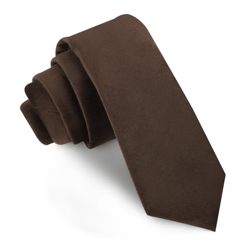 Dark Brown Velvet Skinny Tie