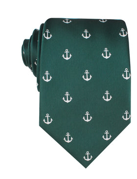 Dark Green Anchor Necktie
