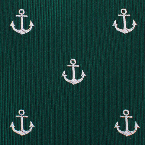 Dark Green Anchor Pocket Square