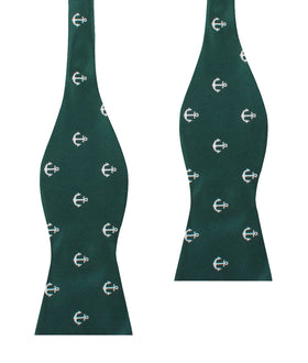 Dark Green Anchor Self Bow Tie