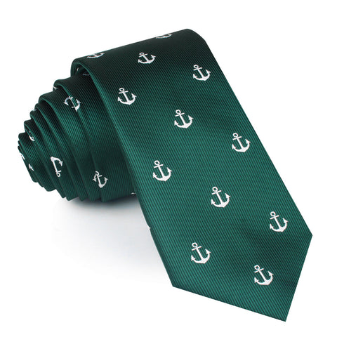 Dark Green Anchor Skinny Tie