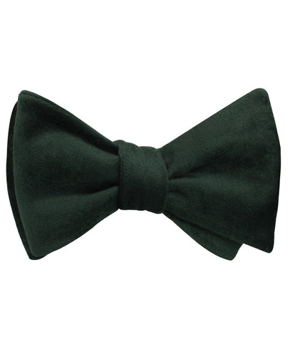 Dark Green Velvet Self Bow Tie