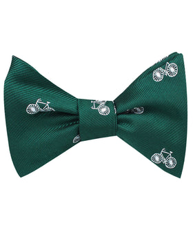 Dark Green French Bicycle Self Bow Tie