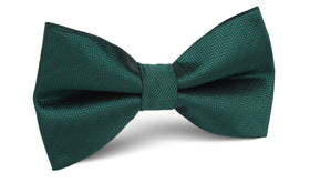 Dark Green Herringbone Bow Tie