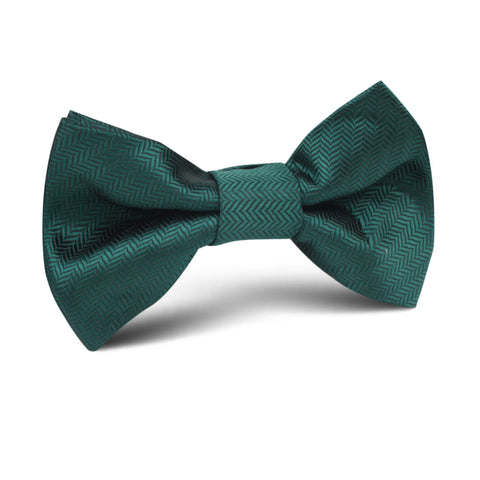 Dark Green Herringbone Kids Bow Tie