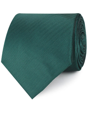 Dark Green Herringbone Necktie