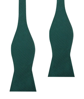Dark Green Herringbone Self Bow Tie