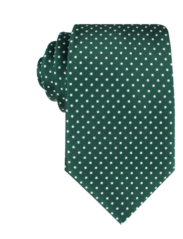 Dark Green Mini Polka Dots Necktie