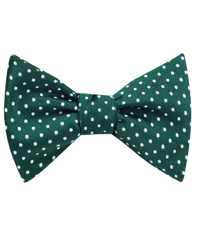 Dark Green Mini Polka Dots Self Bow Tie