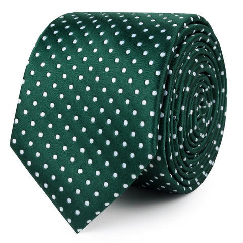 Dark Green Mini Polka Dots Skinny Tie