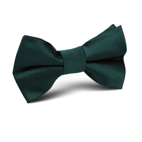 Dark Green Satin Kids Bow Tie