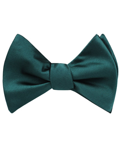 Dark Green Satin Self Bow Tie