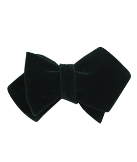 Dark Green Velvet Diamond Self Bow Tie