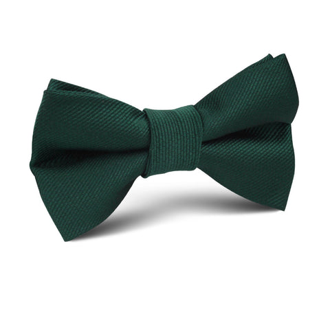 Dark Green Weave Kids Bow Tie
