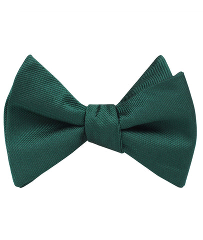 Dark Green Weave Self Bow Tie