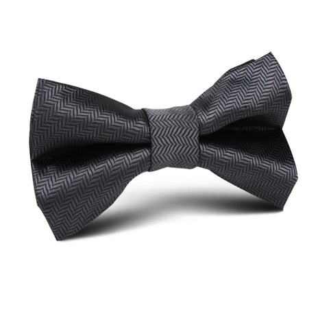 Dark Grey Herringbone Kids Bow Tie