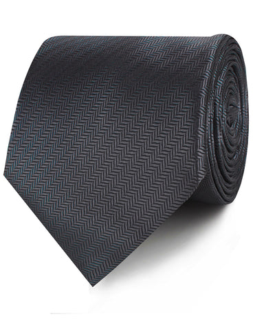 Dark Grey Herringbone Necktie