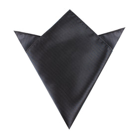 Dark Grey Herringbone Pocket Square