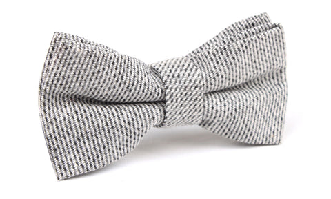 Dark Grey Tweed Linen Bow Tie