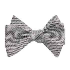 Dark Grey Tweed Linen Self Tie Bow Tie