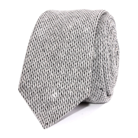 Dark Grey Tweed Linen Skinny Tie
