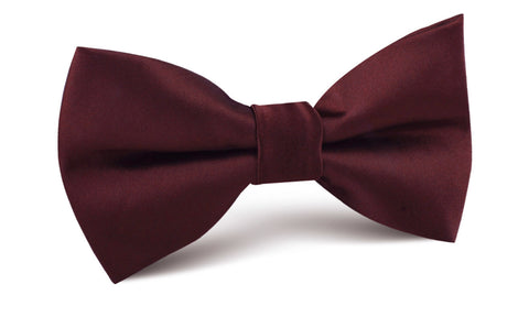 Dark Merlot Wine Satin Bow Tie