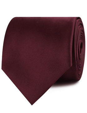 Dark Merlot Wine Satin Necktie